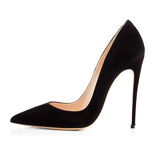 verde pelle per alto Lz 45 in scamosciata scarpe tacco donna punta nero a 8wwqAvRa