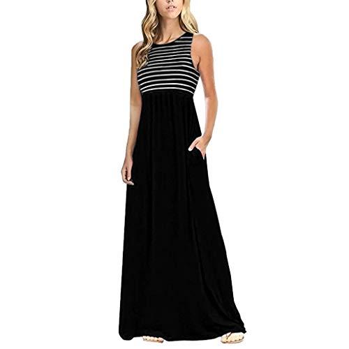 VEZAD Women Striped Dresses Summer Sleeveless Long Bohe Maxi Dress with Pockets