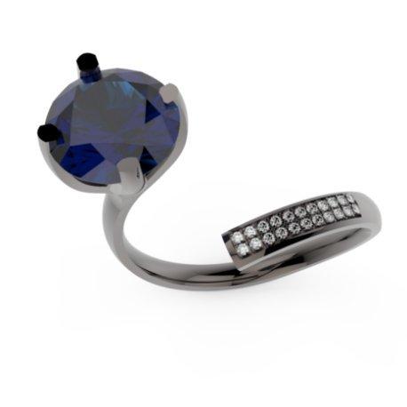 ZIGZAG BRILLANT Bagues Or Noir 18 carats Saphir Bleu 0,6 Rond