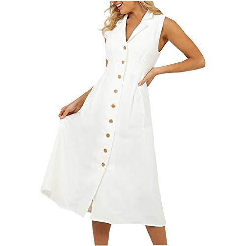 Cotton line Dress for Women V Neck Sleeveless A Line Maxi Dress Button Dress Summer Dresses White ()