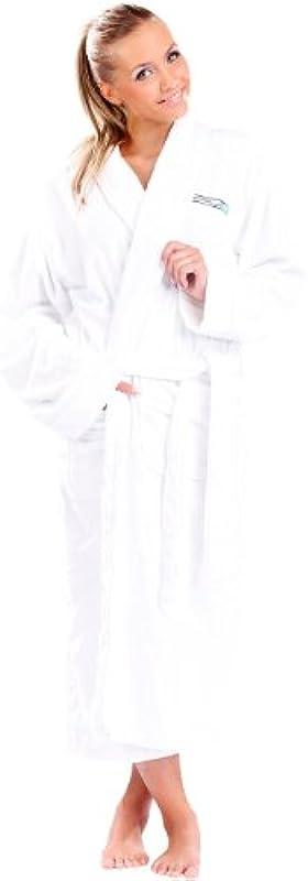 Pearl Basic damski płaszcz kąpielowy szlafrok kąpielowy: z bawełny frotte, biały, rozm. XL (szlafrok na zimę, sauny, spa): Odzież