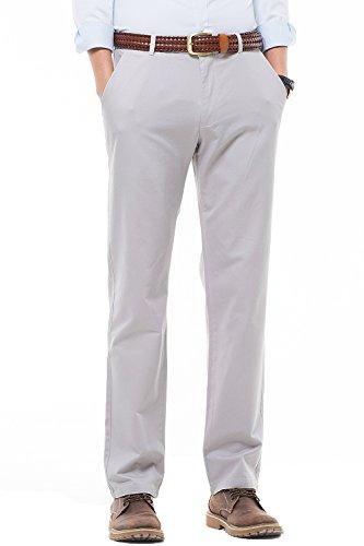 Harrms Para Con De Pantalones Colores Casual Estilo Hombre Múltiples Plateado Rectas Elegir Liso Corte Recto Elástico Perneras g6prg
