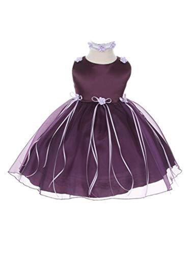 - Kids Dream Baby Girls Eggplant Organza Rosebud Ribbon Flower Girl Dress 18M