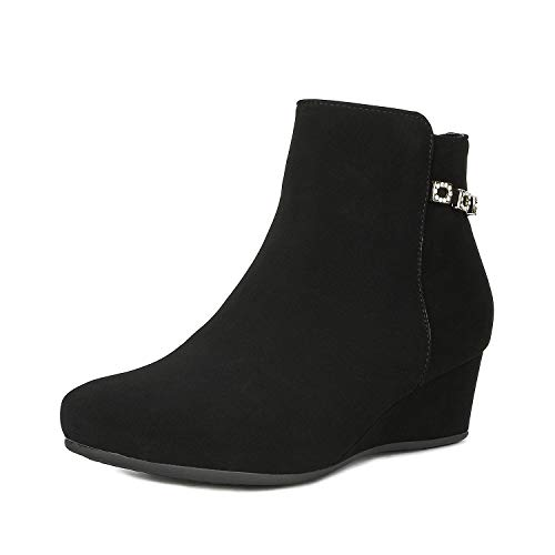 DREAM PAIRS Women's Felicia Black Low Wedge Ankle Bootie Size 11 B(M) US