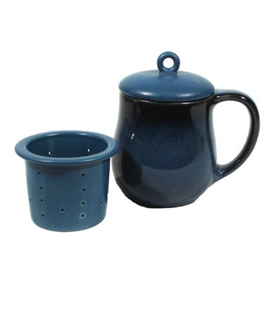 Ch'a Blue Tea Mug with Infuser and Lid, 11 Ounce