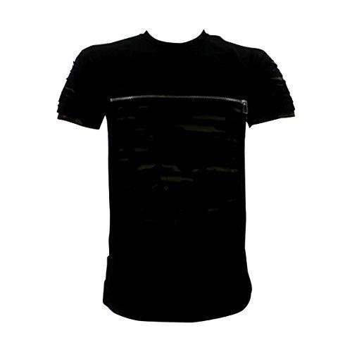 Switch Remarkable - Men's Razor Slash With Zipper T-Shirt - Black/Camouflage