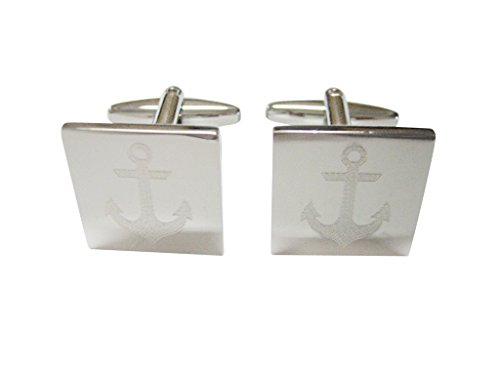 (Silver Toned Etched Nautical Anchor Cufflinks)