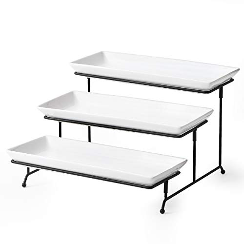 - 3 Tier Serving Stand with Platters Tiered Cupcake Stand, Food Server Display Rack with 3 Rectangular Porcelain Serving Trays/Platters,Large Size 14 inch for Party