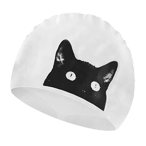 Greenery-GRE Kids Swim Cap, Cartoon Animal Silicone Long Hair Swim Caps for Toddler Kids Children, UV Blocked & Waterproof Cat/Dog Print Swimming Cap Hats for Girls Boys (Cat Head)