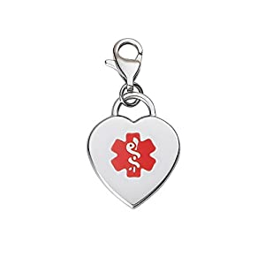 Divoti Custom Engraved Adorable Heart 316L Medical Alert Charm w/Lobster Clasp