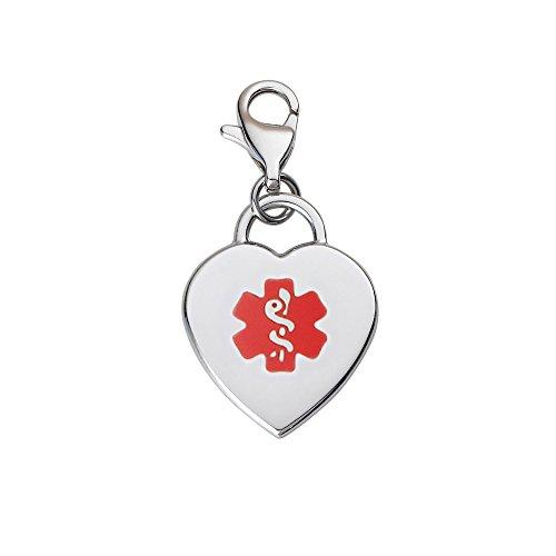 Divoti Custom Engraved Adorable Heart 316L Medical Alert Charm w/Lobster Clasp-Red (Medical Alert Heart)