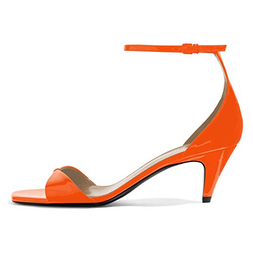 YDN Women Square Toe Cone Low Heel Sandals Ankle Straps Pumps Buckled Glossy Shoes 11 Orange (Cone Heel Ankle Strap)