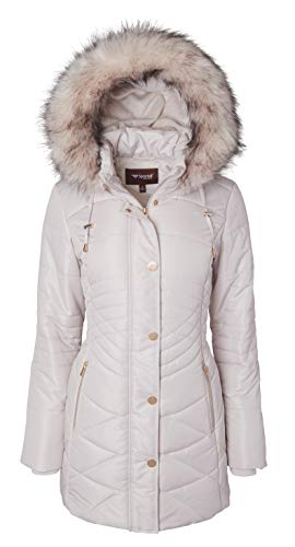Women Longer Length Plush Lined Quilted Winter Puffer Coat Zip-Off Fur Trim Hood - Angora (Largre)