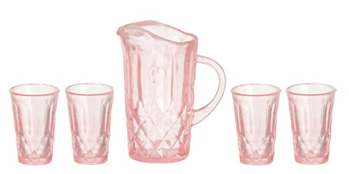 Glass Miniature Pitcher (Dollhouse Miniature Chrysnbon Pitcher with 4 Glasses Pink)
