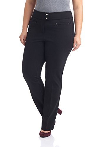 (Rekucci Curvy Woman Secret Figure Knit Plus Size Straight Pant w/Tummy Control (14W,Black))
