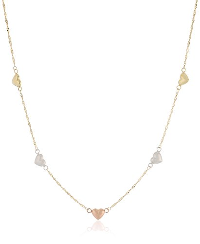 14k Gold Tri-Color High Polished Puffed Heart Station Necklace, 18
