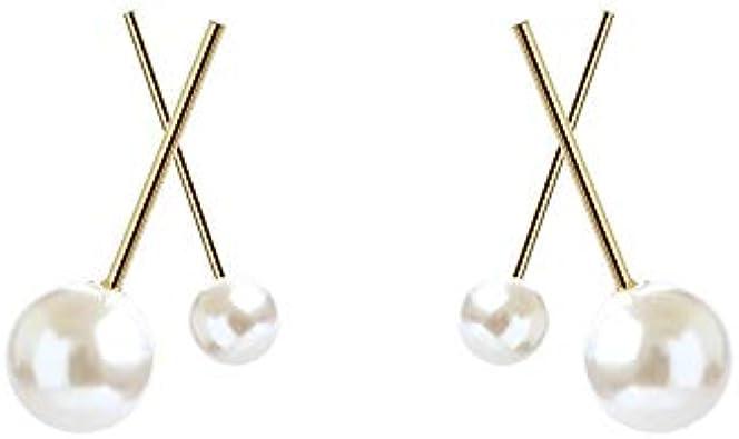 Tamaño imitación perla cruz metal corto dulce pendientes femenino coreano temperamento simple personalidad pendientes de boda accesorios de boda