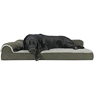 Furhaven Pet Dog Bed | Deluxe Orthopedic Two-Tone Plush Faux Fur & Suede L Shaped Chaise Lounge Living Room Corner Couch Pet Bed w/ Removable Cover for Dogs & Cats, Dark Sage, Jumbo