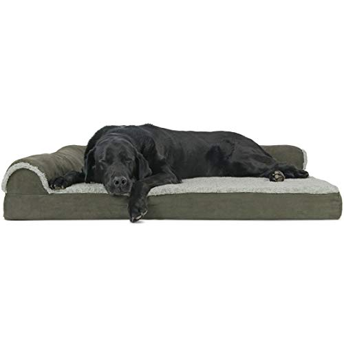 FurHaven Pet Dog Bed | Deluxe Orthopedic Faux Fur & Suede L-Shaped Chaise Lounge Sofa-Style Pet Bed for Dogs & Cats, Dark Sage, Jumbo