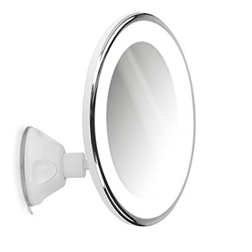 Navaris Espejo de Aumento x7 con luz - Espejo con Ventosa e iluminacion LED - Giratorio y Ajustable 360° - Espejo de Maquillaje y depilacion