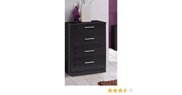 Havnyt Bronte - Cómoda para dormitorio (4 cajones, 75 cm de ancho), color negro