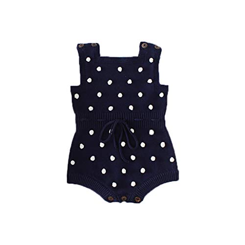Kehen Infant Newborn Baby Girls Knit Polka Dot Romper Cute Strap Sleeveless Jumpsuit Bodysuit Spring Outfit Navy 9-12 Months