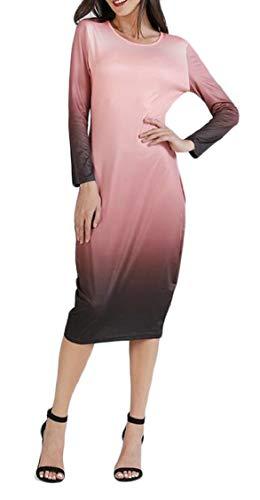 Jaycargogo O Womens Fall Long Sleeve Neck Midi Pink Bodycon Dress Color Gradient wqUwZrpXn