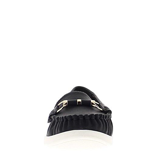 Mocassini donna black comfort con barette