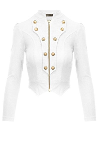 HyBrid & Company Women's Military Crop Stretch Gold Zip up Blazer Jacket KJK1125X White (Military Crop)