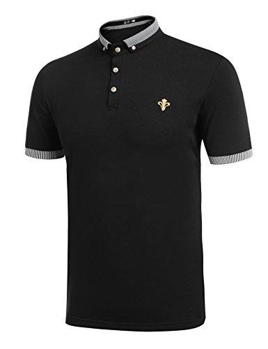 Nero Uomo shirt Polo Da Manica Coofandy T A Corta n8WxwP6U