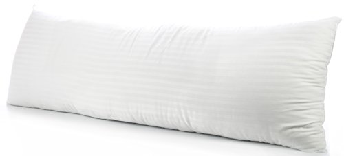 (Deluxe Home Body Pillow - Hypoallergenic Fiber Filled Full Body or Pregnancy Maternity Pillow with Most Comfortable 1800 Series Dobby Striped Cotton Cover - Full Size 20x54 Down Alternative Pillow)