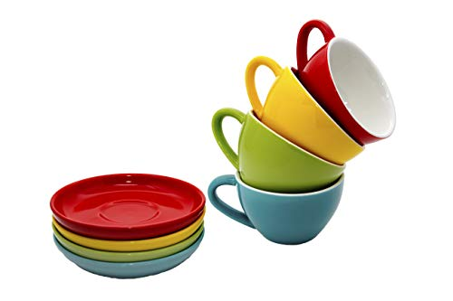 Cappuccino Cups and Saucers, Set of 4 Assorted Vibrant Colors, Durable Porcelain 8 Ounce Capacity for Specialty Coffee Drinks, Latte, Cafe Mocha