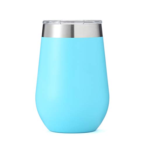Wine Tumbler, ZUNIA 12oz Stainless Steel Double Wall Vaccum Insulation Stemless Wine Glass Cup Drink-Ware Glasses for Wine, Coffee, Champagne, Cocktails and Beer with Lid for Mrs Mom Aunts, ()