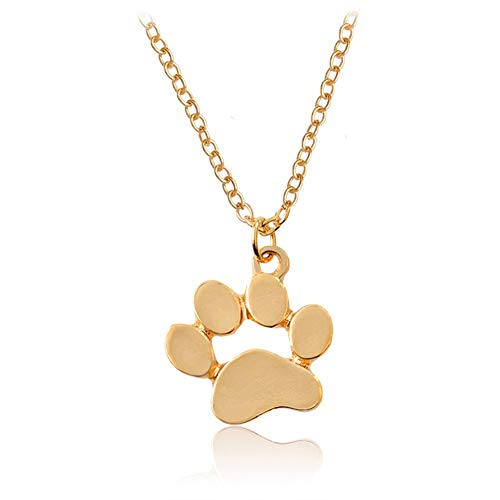 AILUOR Dog Paw Necklace, Cute Puppy Paw Print Pendant Hollow Heart Footprint Necklace Memorial Jewelry for Dog Lovers (Gold)
