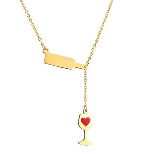 Enamel Heart Necklace - Stainless Steel Love Wine Cheers Red Enamel Heart Pendant Necklace Women's Girl's Gold/Silver 18'' Jewelry