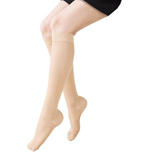 KoolFree Far Infrared Medical Grade Graduated Compression Stockings for Men and Women, Travel Nurse Pregnancy Knee High Socks, Closed toe, 23-32mmHg (All size S-3L) (XXXL, beige) by Koolfree