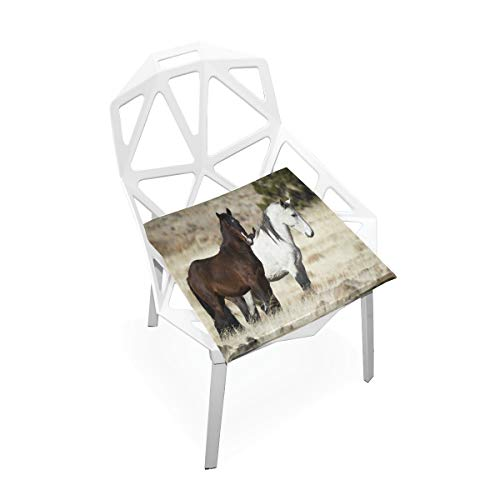 Pingshoes Seat Cushion Wild Mustang Horse Chair Cushion Offices Butt Chair Pads Square Car Mat for Kitchens