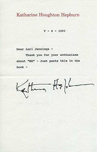 Katharine Hepburn Signed Autographed Typed Letter - Signed Typed