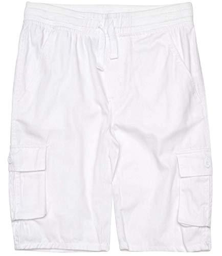 (Quad Seven Boys Pull-On Twill Cargo Shorts, White, Size 12')