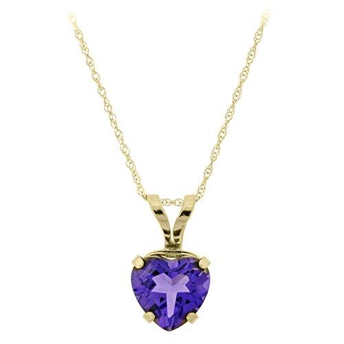 Heart Chain Amethyst (.60 cttw Heart 6MM Amethyst 10K Pendant 18