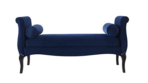 Jennifer Taylor Home 85400-859 Olivia Roll Arm Entryway Bench, Navy Blue