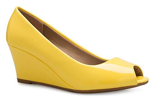 (OLIVIA K Women's Adorable Low Peep Toe Wedge Heel Shoe - Comfortable, Adorable)