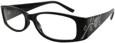 prix raisonnable profiter du prix le plus bas réduction jusqu'à 60% PKL lunettes sans correction femme verres neutres transparents ctrv-cv281c3  noir -- motifs floraux argentés