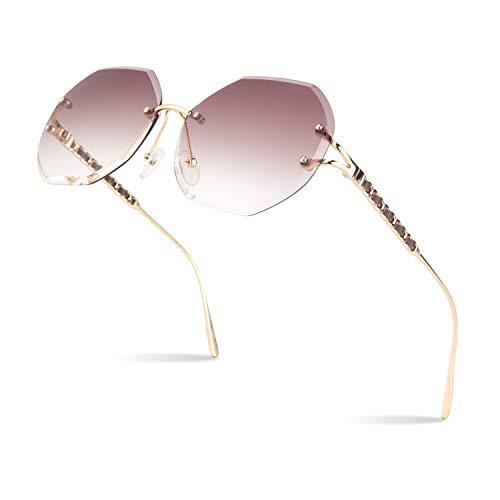 Sunier 2019 New Design Circle Circular Round Frameless Rimless Sunglasses For Women Oversized Diamond Cutting Clear Lens Bling Crystal Sun Glasses, Gold Frame Gradient Transparent Brown Lens