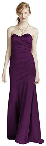Long Strapless Stretch Satin Bridesmaid Dress Style F15586 – Plum