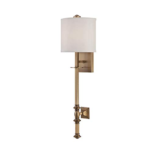 Monroe 1 Light Sconce - Savoy House 9-7140-1-322 Devon 1-Light Wall Sconce with White Fabric Shade, Warm Brass Finish