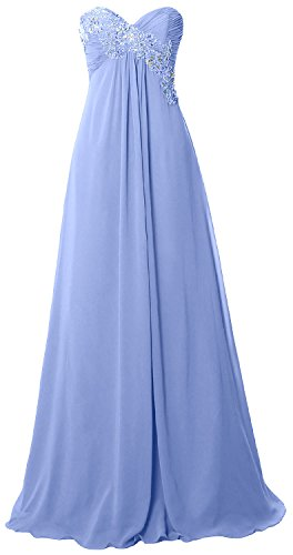 MACloth Women Strapless Empire Long Prom Dress Chiffon Formal Party ...