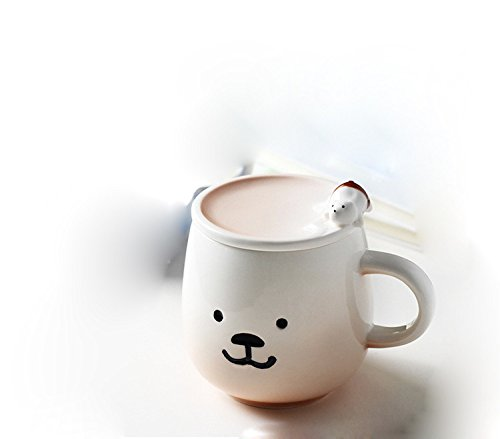 GTVERNH-Cute Bear Gradient Ceramic Cup Creative Personality Papaxiong Cover Coffee And Milk Tea Cup Cup Mark ExpressionCoffee Color