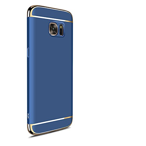 Hard Case For Samsung Galaxy S7 Edge 3 in 1 Anti-Scratch Shockproof Electroplate Cover Snap on Protective Case by Sophili - Blue
