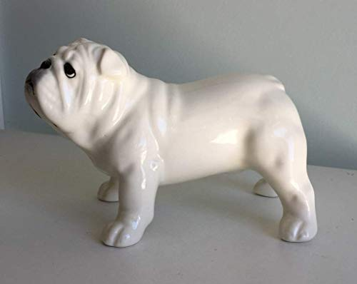 - English bulldog white porcelain (faience) figurine, handmade, porcelain dog figurine